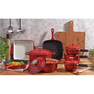 Cooks Professional D9584 Red 8pc Cast Iron Set