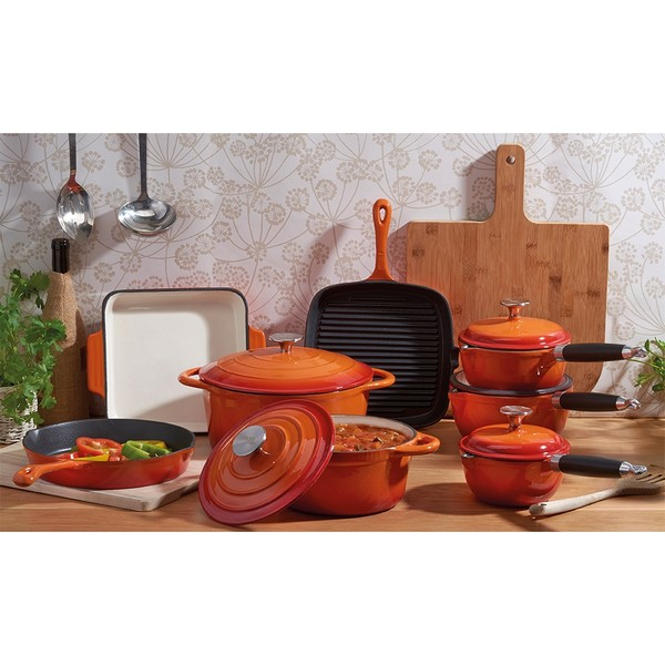 Cooks Professional Eight Piece Cast Iron Set Orange No Colour