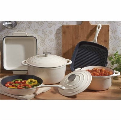 Cooks Professional D9592 Cream 5pc Cast Iron Set