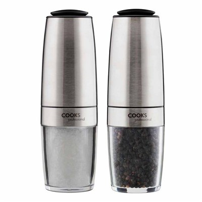 Cooks Professional G4233 Stainless-Steel Gravity Salt and Pepper Mill Set