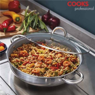 Cooks Professional Saut� Pan with Glass Lid and 2 x Side Handles