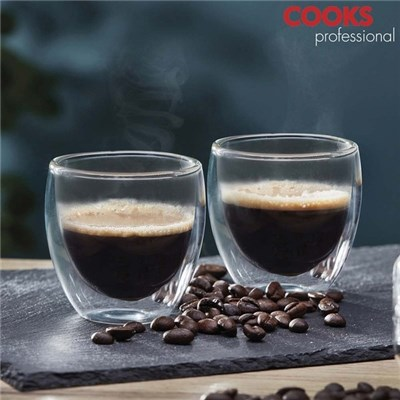 Cooks Professional D8036A Double Walled Coffee Glasses (Twin Pack)