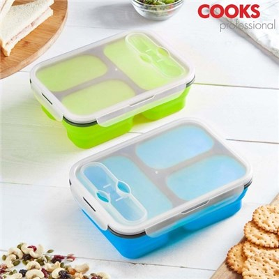 Cooks Professional Silicone Collapsible 3 Section Blue Lunchbox