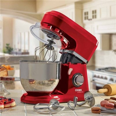 Cooks Professional D9768 Red Stand Mixer with Stainless Steel Bowl
