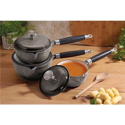 Cooks Professional G2771 3pc Grey Cast-Iron Saucepan Set with Stainless Steel Handle
