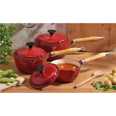 Cooks Professional Red 3pc Cast Iron Saucepan Set