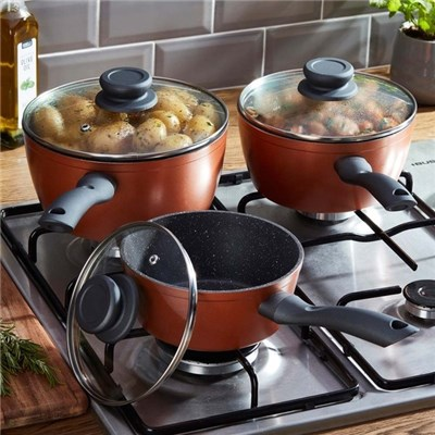 Cooks Professional G2709 Copper and Granite Effect 3pc Saucepan Set