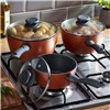Cooks Professional Three piece Copper and Granite effect Saucepan Set
