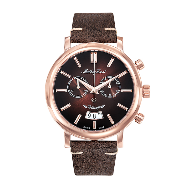 Image of Mathey-Tissot Gent's Vintage Chronograph Watch with Genuine Leather Strap