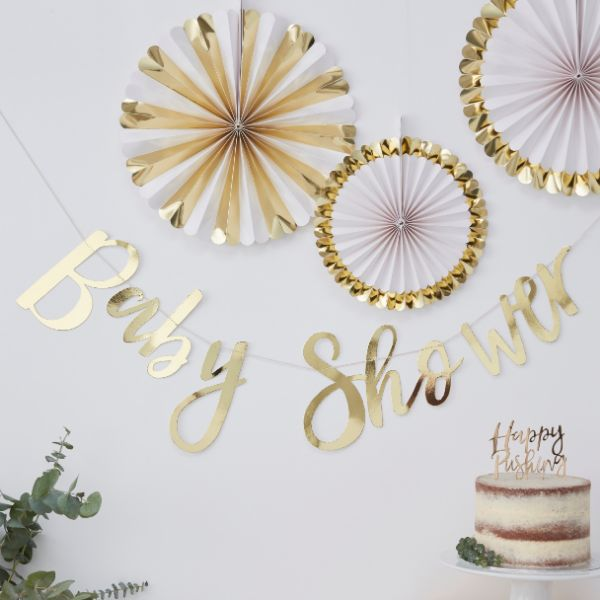 Ginger Ray Backdrop - Baby Shower - Gold No Colour