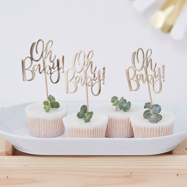 Ginger Ray Cupcake Toppers - Oh Baby! No Colour