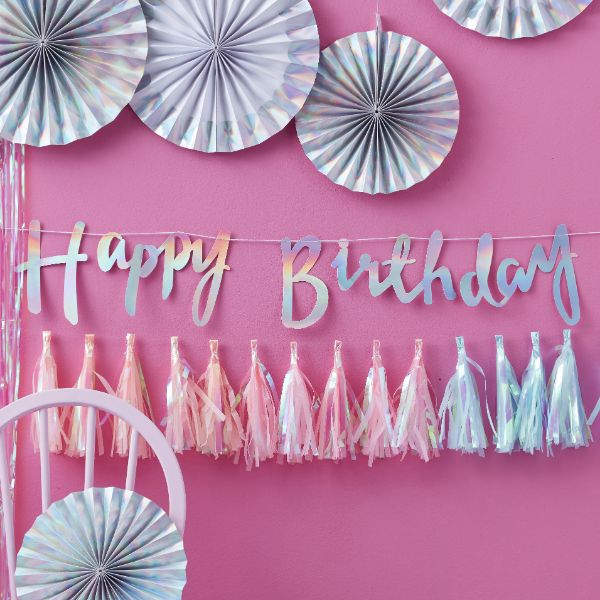 Ginger Ray Iridescent Script Happy Birthday Bunting - Iridescent Party No Colour