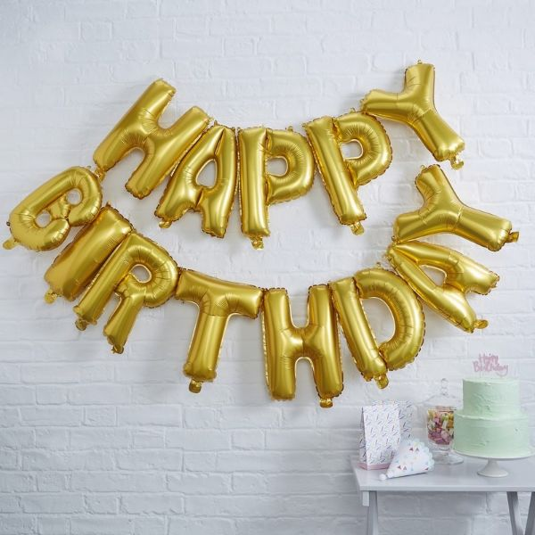 Ginger Ray Happy Birthday Balloon Bunting - Gold No Colour