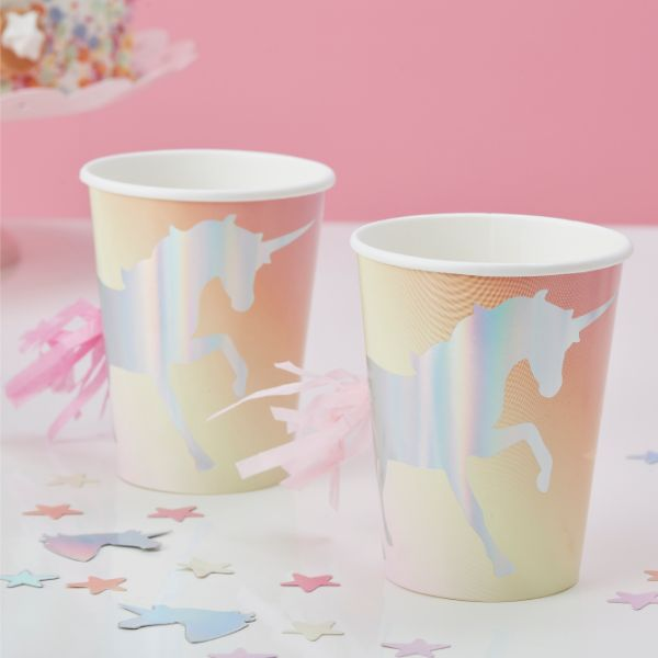 Ginger Ray Cup - Unicorn Foiled - Pastel No Colour