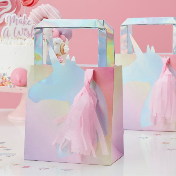Ginger Ray Party Bags x5 - Unicorn - Iridescent No Colour