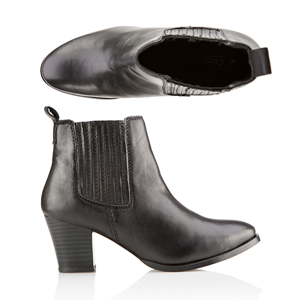 Comfort Leather Chelsea Ankle Boot Black