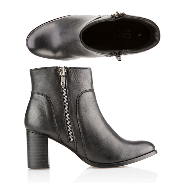 Comfort Leather Zip Ankle Boot Black
