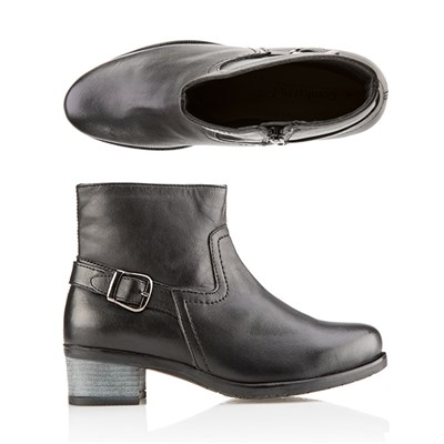 Comfort Leather Buckle Flat Ankle Boot