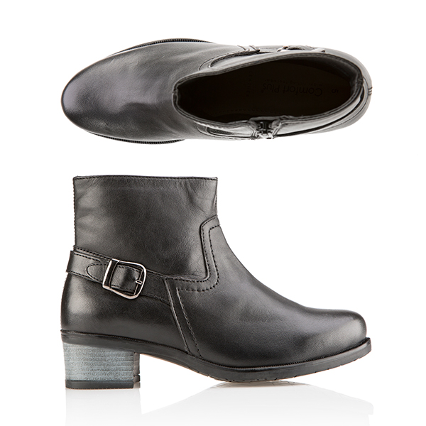 Comfort Leather Buckle Flat Ankle Boot Black