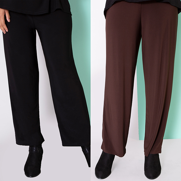 Nicole Essential Trousers 29in (2 Pack) Black/Choc