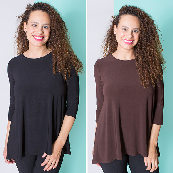 Nicole Dip Hem Top (2 Pack) Black/Choc
