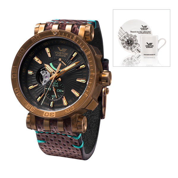 Vostok Europe Gent's Energia Bronze Case with Interchangeable Straps, Collectors Dry Box and Gift Brown