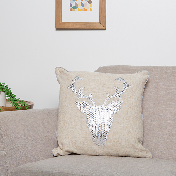 Christmas Stag Sequin Cushion Silver