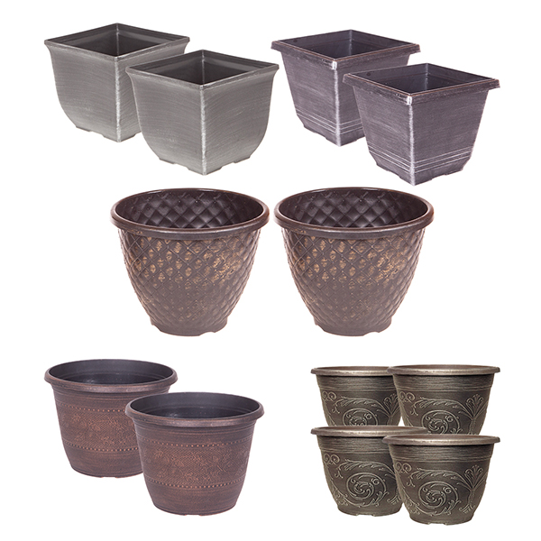 Festive Planter Bundle with 12 Metallic Effect Pots (6 Pairs) No Colour
