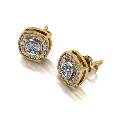 Moissanite Lady Lynsey 9ct Gold 1ct Eq Cushion Centre Halo Stud Earrings