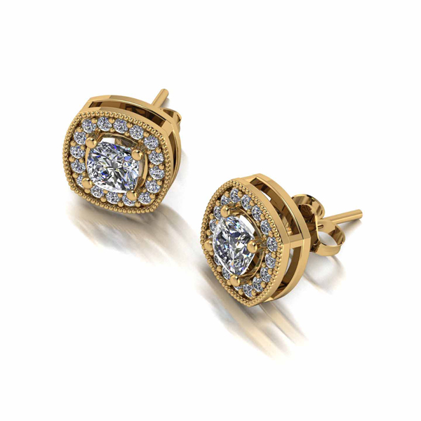 Moissanite Lady Lynsey 9ct Gold 1ct Eq Cushion Centre Halo Stud Earrings Yellow Gold