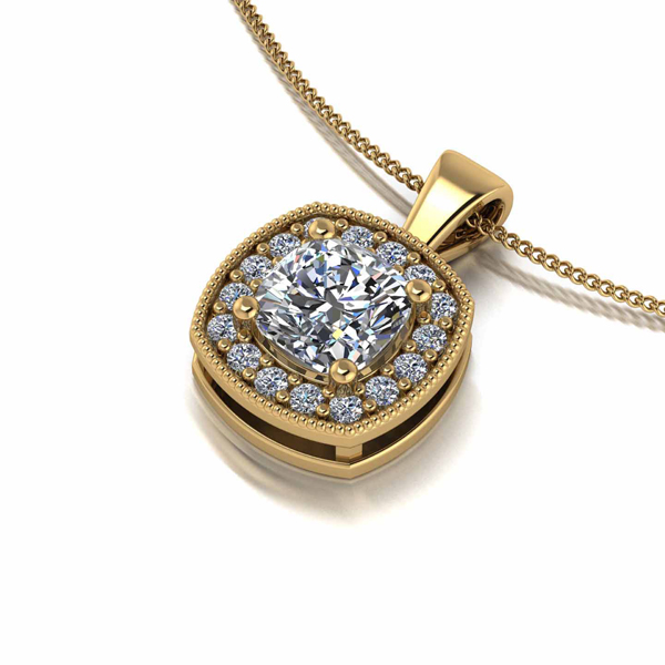 Moissanite Lady Lynsey 9ct Gold 1ct Eq Cushion Centre Halo Pendant Necklace Yellow Gold
