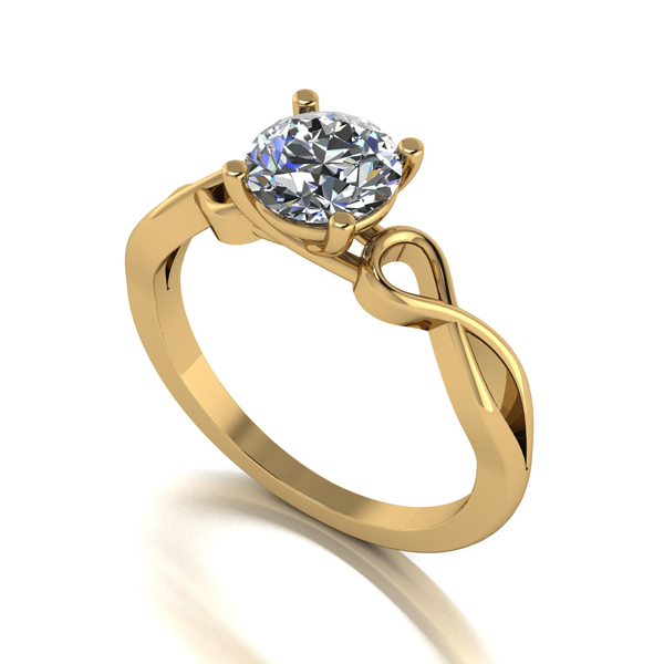 Moissanite Lady Lynsey 9ct Gold 1ct eq Infinity Solitaire Ring Yellow Gold
