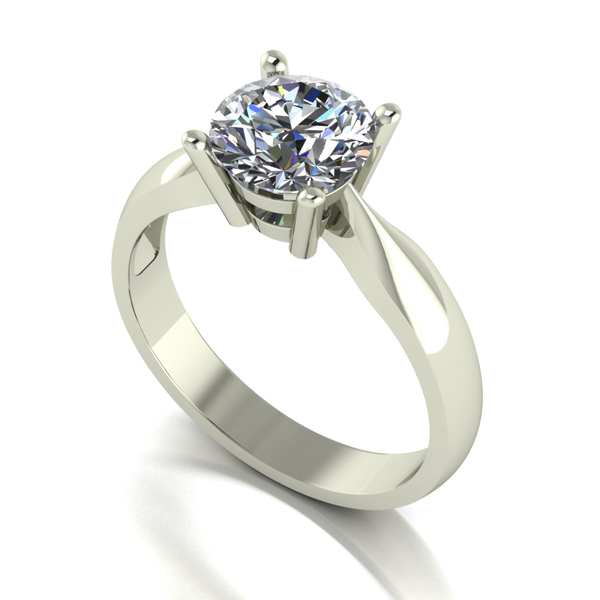Moissanite 9ct Gold 1.50ct Solitaire Ring White Gold