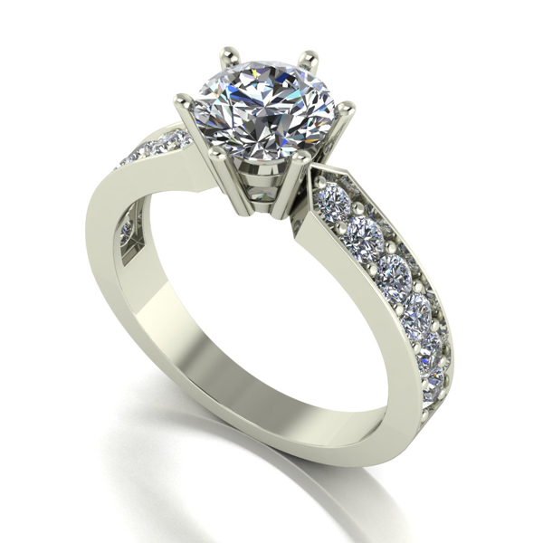 Moissanite 9ct Gold 1.50ct Eq Shoulder Set Solitaire Ring White Gold