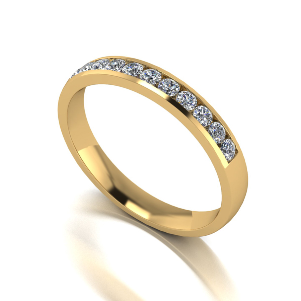Moissanite 9ct Gold 33 Point Channel Set Eternity Ring Yellow Gold