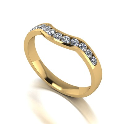 Moissanite 9ct Gold 33 Pointe Channel Set Shaped Ring