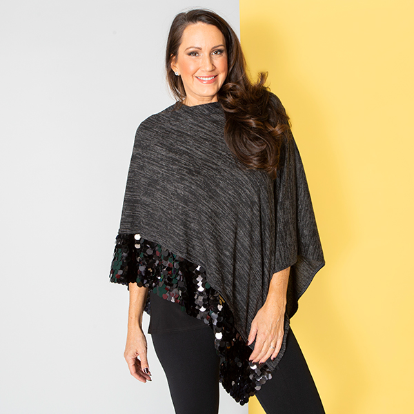 Sequin Trim Wrap Black