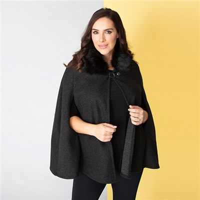 Cape Jacket with Faux Fur Trim Collar