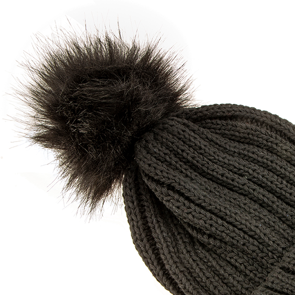 Ribbed Pom-Pom Hat Black