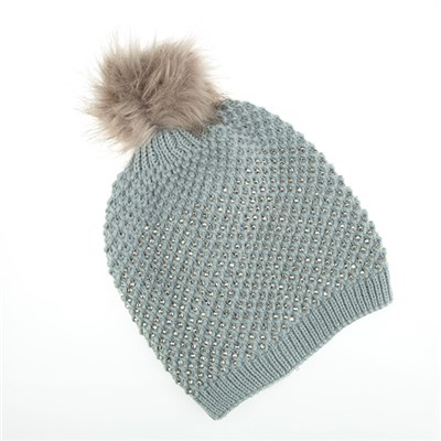Diamante Detail Pom-Pom Hat