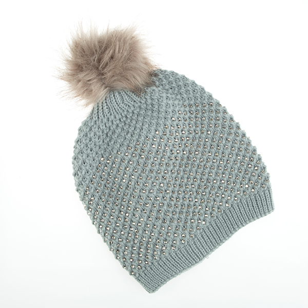 Diamante Detail Pom-Pom Hat Grey