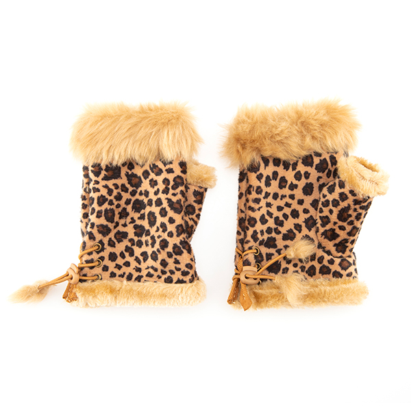 Animal Print Fingerless Glove with Faux Fur Trim Tan