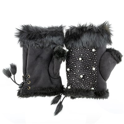 Faux Suede Fingerless Glove with Pearl Detail