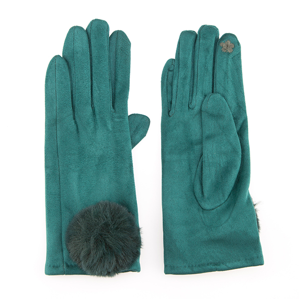 Faux Fur Trim Glove Jade