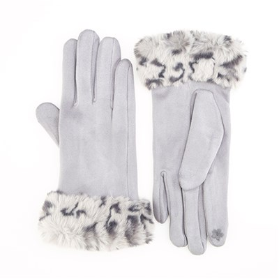 Faux Fur Leopard Trim Gloves