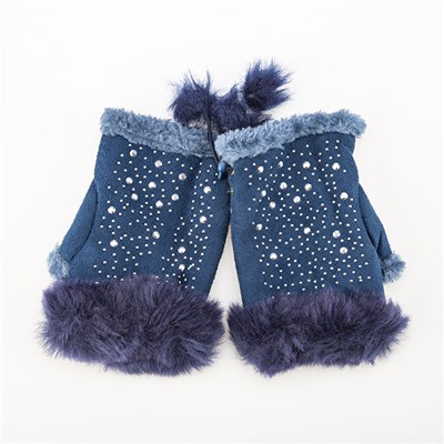 Faux Suede Fingerless Gloves with Stud Detail