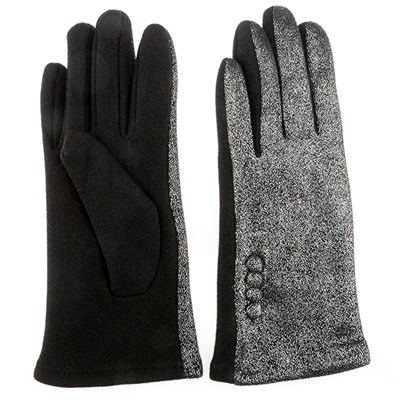 Foil Print Gloves with Button Detail