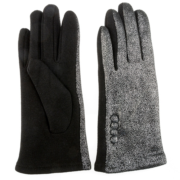 Foil Print Gloves with Button Detail Black