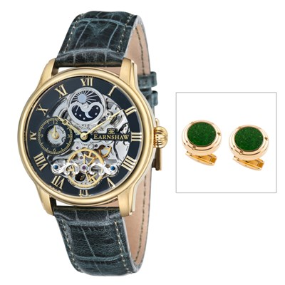 Thomas Earnshaw Gent's Automatic Longitude Skeleton IP Watch Genuine Leather Strap and Cufflinks