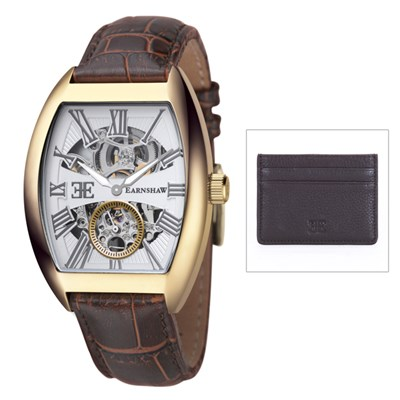 Thomas Earnshaw Gent�s Automatic Holborn Watch with Genuine Leather Strap and Card Holder
